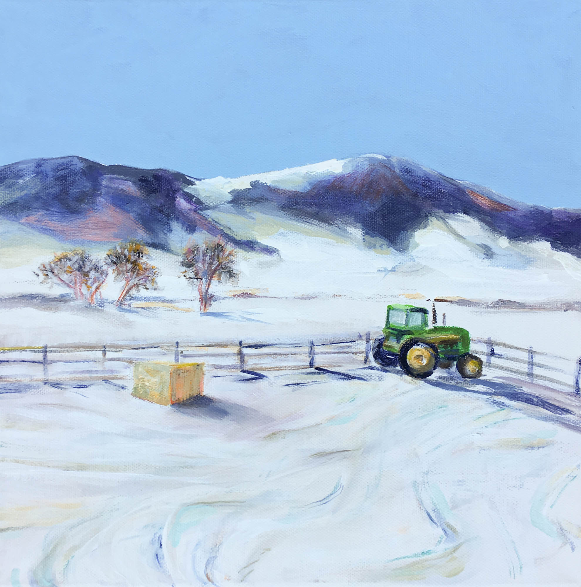 "Bale of Hay and the John Deere, 12"" x 12"", Acrylic on Canvas"