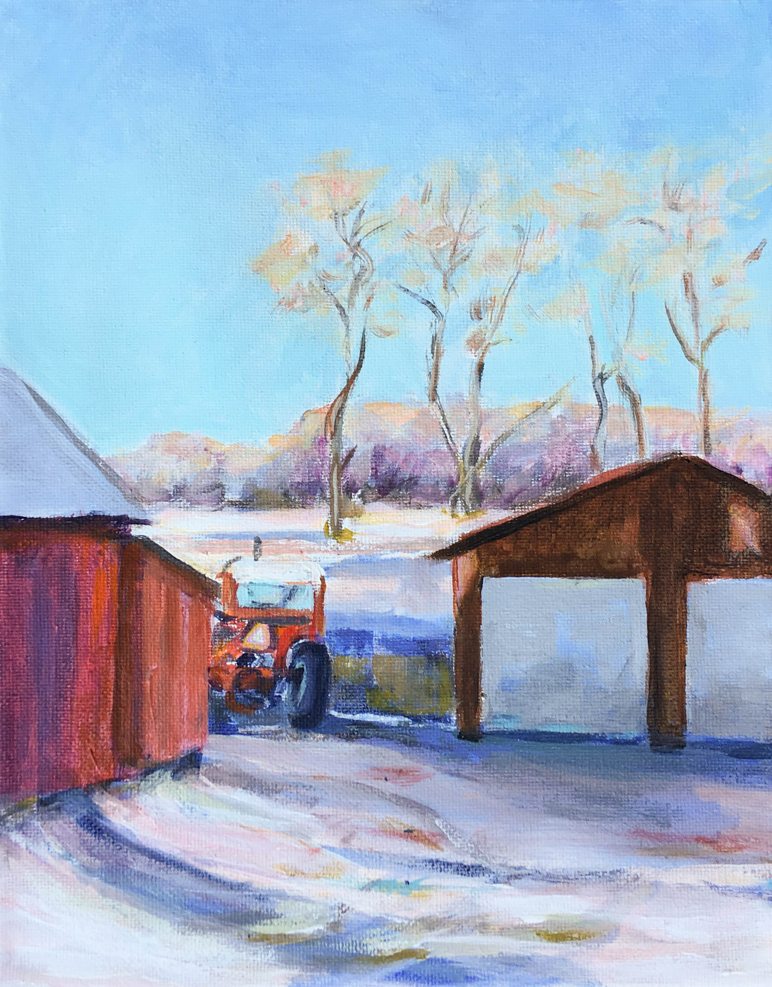 "February Morning at Dell, 10"" x 8"", Acrylic on Canvas"