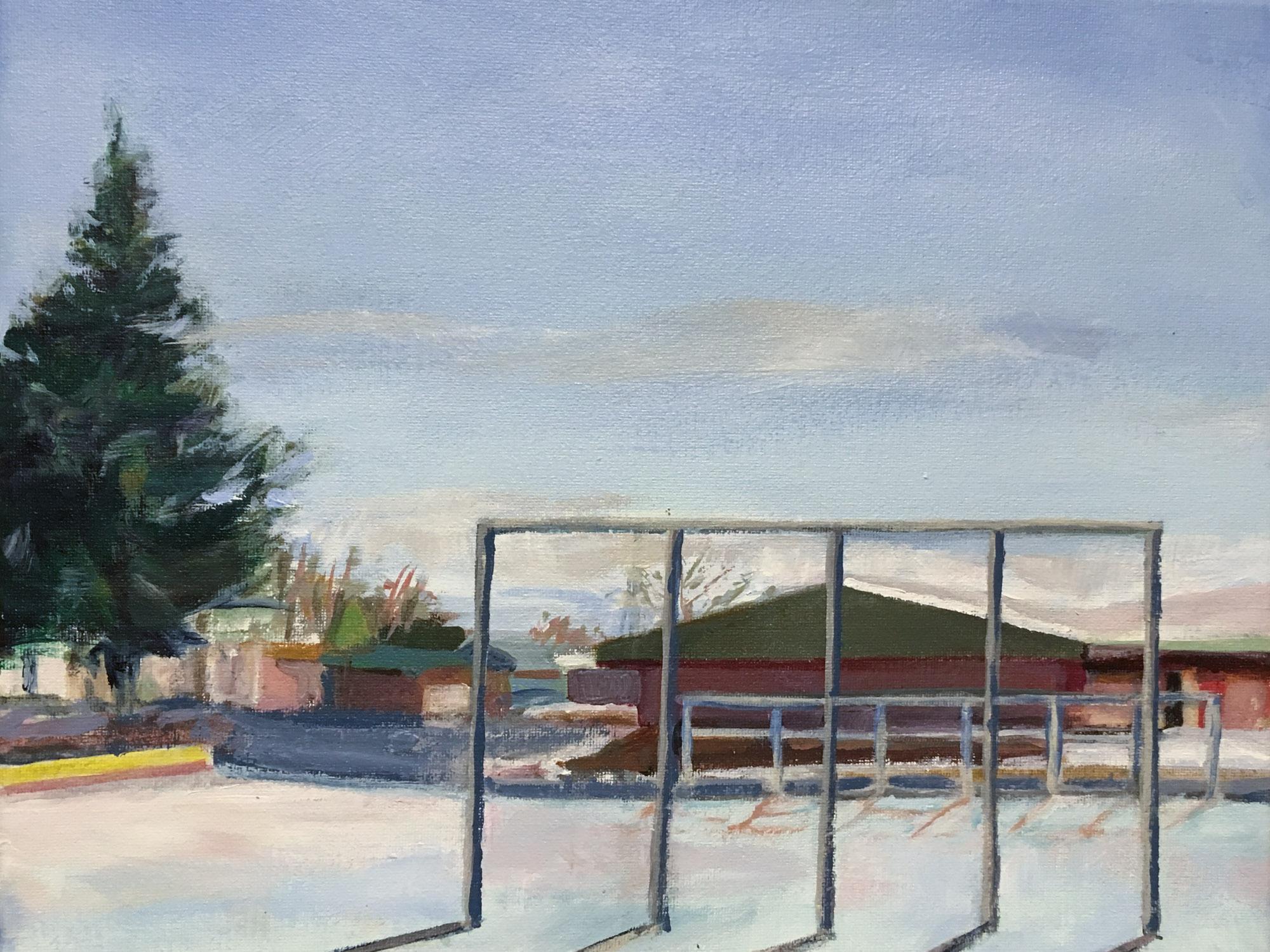 "Tennis Court in Winter, 11"" x 14"", Acrylic on Canvas"