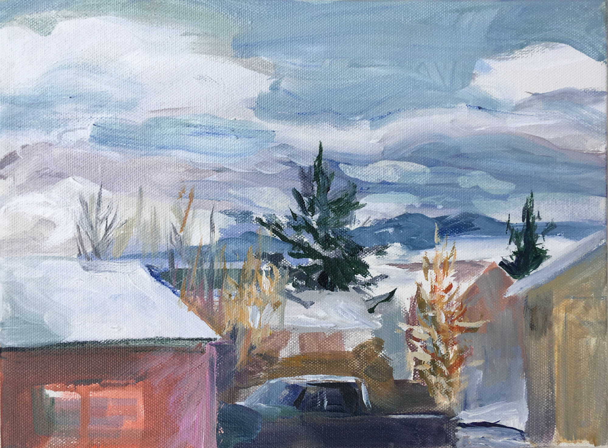 "Across the Street, 9"" x 12"", Acrylic on Canvas"