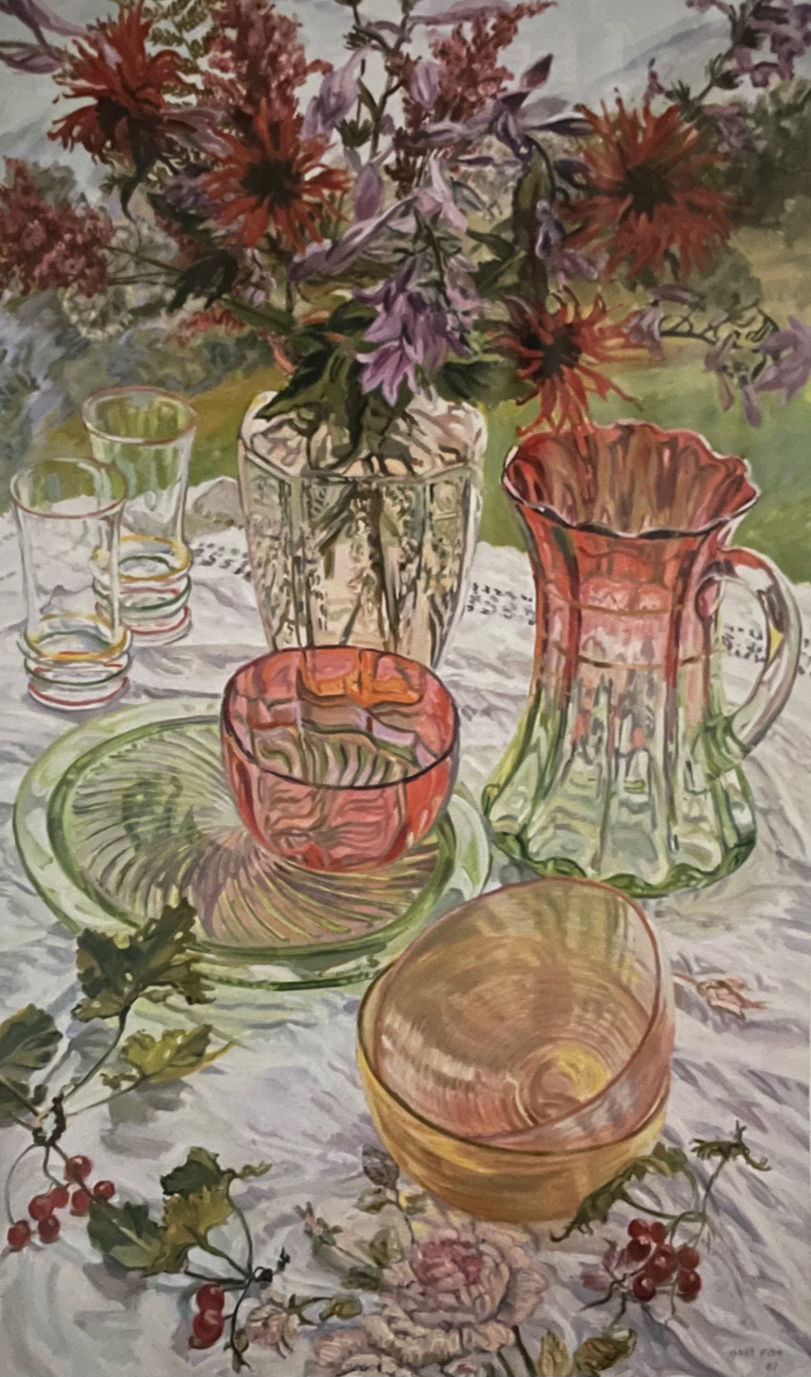 """Janet Fish, Red and Green Dishes Monarda, 2007,oil on canvas, 60""""x36"""""""
