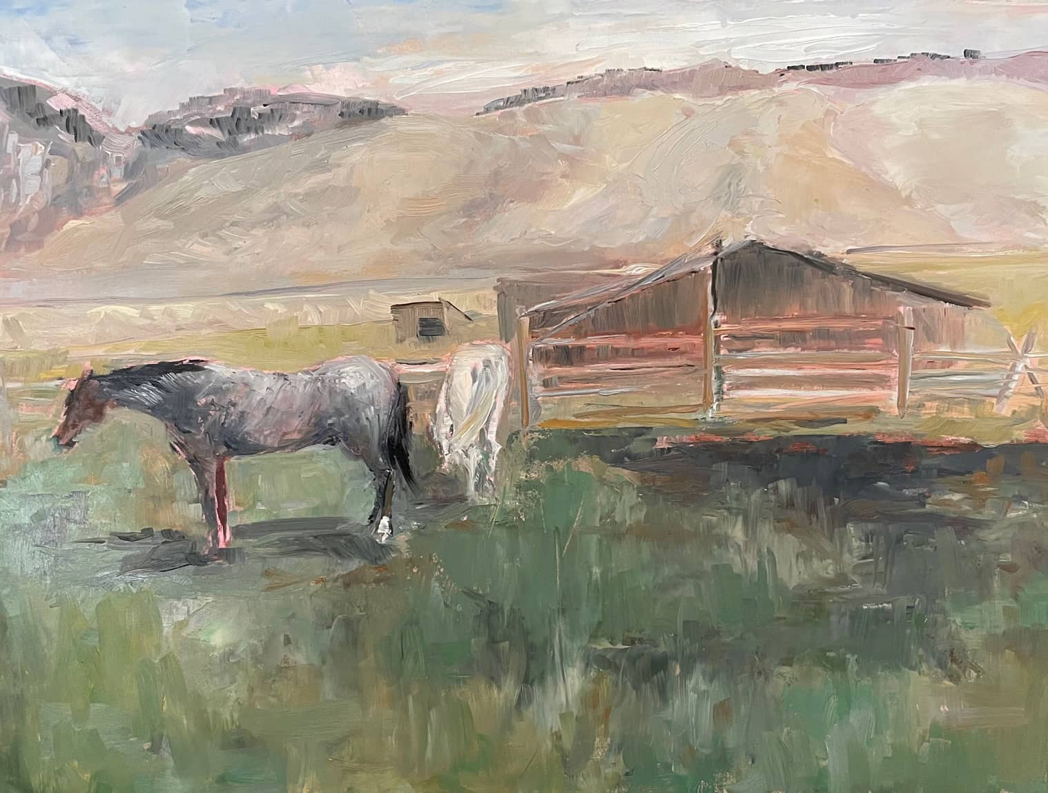 """Horses and Dogs 2021 Version one, 9"""" x 12"""", Oil on Panel"""