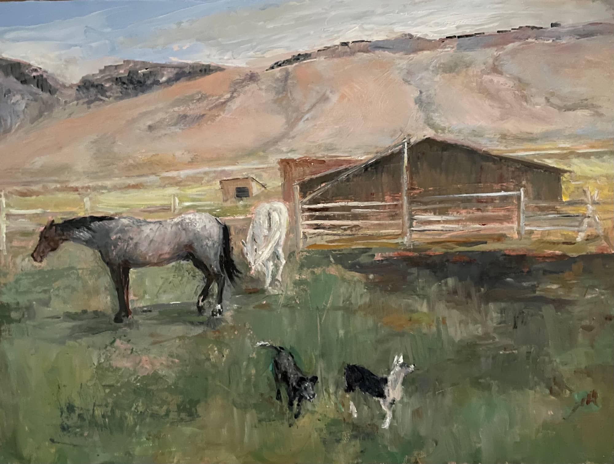 """Horses and Dogs 2021, 9"""" x 12"""", Oil on Panel"""