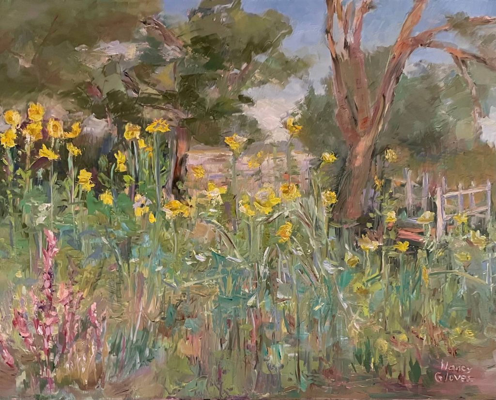 """Sunflowers in August, 2021, 12"""" x 12"""", Oil on Panel"""